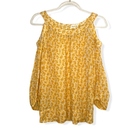 Anthro Meadow Rue Yellow Cold Shoulder Shirt sz 2
